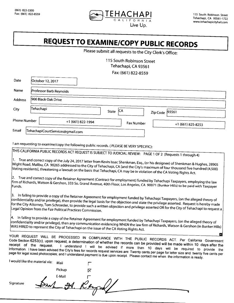 CA Public Records Act Request - BR 001
